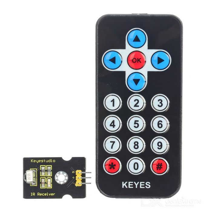 IR Receiving Module + 38KHz 17-Key Remote Controller Set - Black + Yellow. Find the cool gadgets at a incredibly low price with worldwide free shipping here. Keyestudio Infrared IR Wireless Remote Control Module Kit for Arduino, Kits, . Tags: #Electrical #Tools #Arduino #SCM #Supplies #Kits