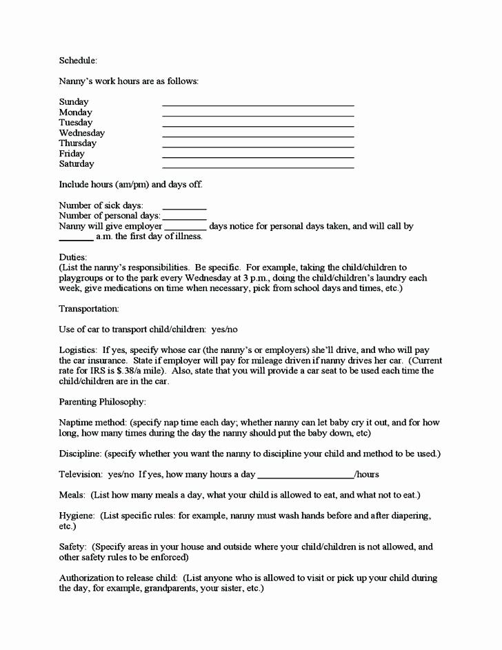 Part time nanny contract template elegant sample nanny