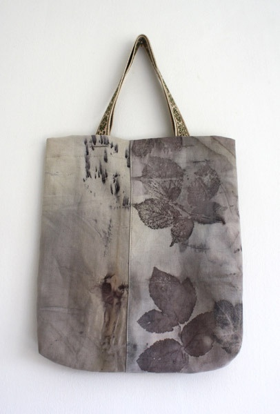 DIY handbag. Experimental fabric dying using natural elements such as iron pieces and various leaves.
