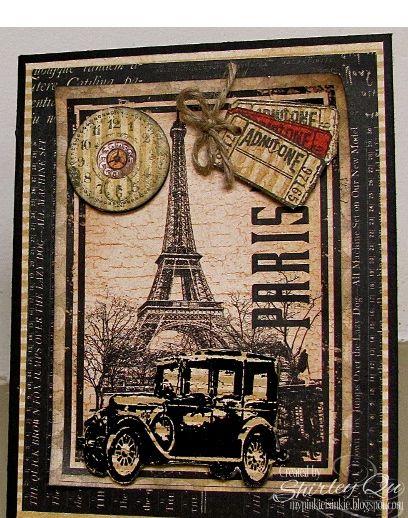 Eiffel Tower, TH vintage car - love this card
