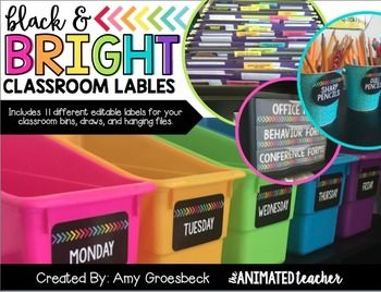 Accent and organize your classroom with this editable label set. This pack includes 11 styles of black labels, each completely customizable. Each label is accented with brightly colored arrows for a pop of color. To customize your labels, simply insert a text box and type!