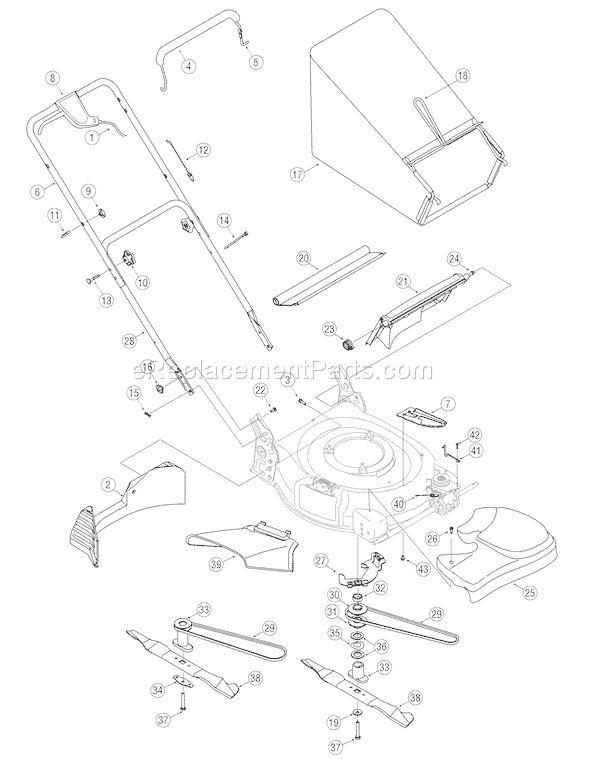 Troy-Bilt 12AV566N011 (2007) Walk-Behind Mower schematics