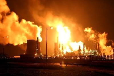 """Imperial Chemical Industries Wilton """"as the story goes that Ridley Scott himself was inspired to create his 21st century Los Angeles by the sight of the Wilton Skyline - dozens of pipes and towers, neon lit and topped by flares."""""""