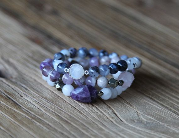Montana moss agate and moonstone beaded stacking bracelet by Rosehip Jewelry