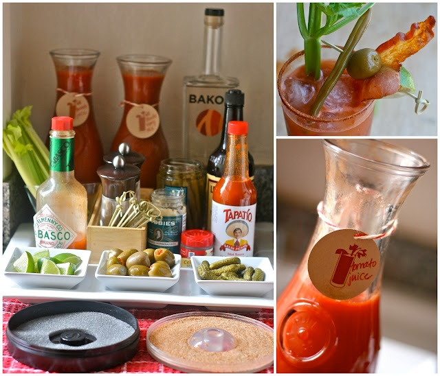 Bloody Mary Bar for Bacon Bridal Shower Brunch.