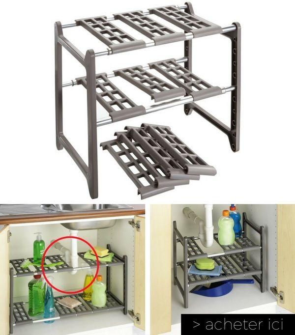 Une étagère extensible & modulable sous l'évier pour gagner de la place et ranger plus facilement  http://www.homelisty.com/vie-facile-objets-maison/