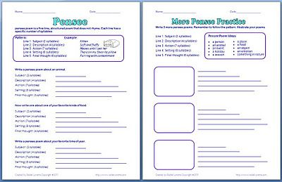 Free Pensee Poem Activity.  Never heard of a Pensee Poem. These would be perfect for a Readers Theater style program– each student confidently reading and then smiling with the sound of applause.