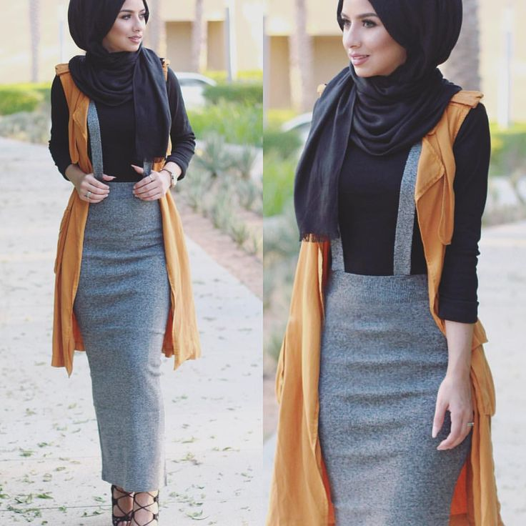 "Soha MT on Instagram: ""Bodycon skirts love. I got this skirt from a local unknown store where they sell Korean fashion, and the vest is from @zara now in stores  #hijabfashion"""