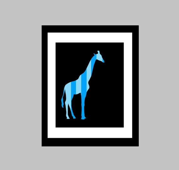 """This 8 x 10 original print features a striped giraffe. Adds a modern pop of colour to any wall space!    This print is shown in blue and black but I can do it in any colour scheme you want! Just let me know which colors you would like in the """"note to seller"""" section upon purchase."""