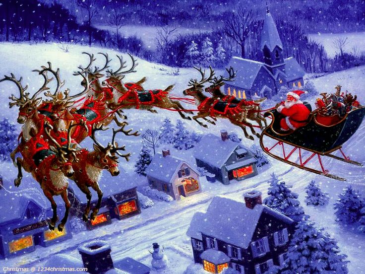 christmas with santa claus and reindeer flying - Santa Claus And Reindeers