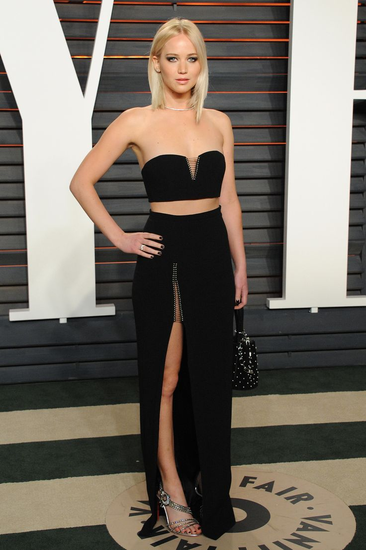 Jennifer Lawrence.. Alexander Wang Fall 2016 two piece and clutch ensemble, with Christian Louboutin  heels, and Anita Ko jewels..
