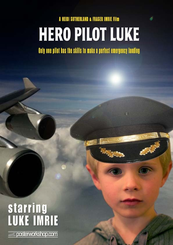 PILOT KIDS MOVIE POSTER GIFTS From $45.00  Mayday!  Mayday!  It's going to be a bumpy ride up up up high in the skies.  Star in this Pilot Movie Poster and captain your plane to safety.  Photo Tip: This poster works best with or without a Pilot's uniform (we can add your Captain's hat).  Feel free to salute if you feel so inclined!