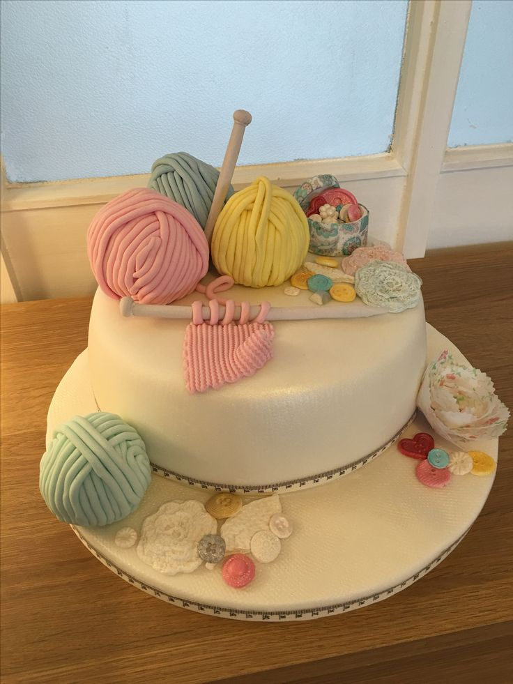 Knitting Themed Birthday Cake