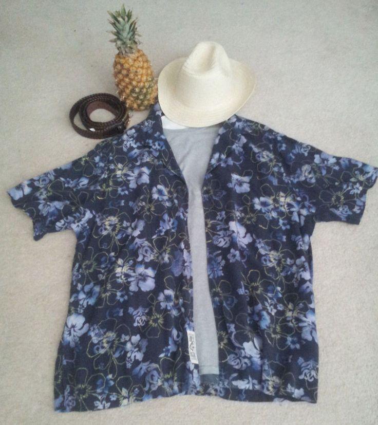Daniel Cremieux de Paris  HIPSTER COOL  Blue Men's Hawaiian Shirt for JEANS  XL #DanielCremieuxBlueJeansCollection #Hawaiian