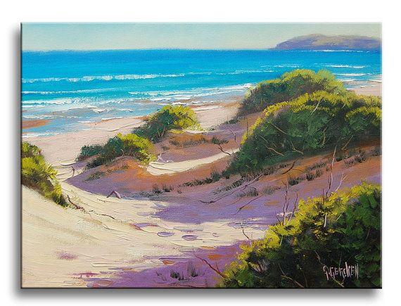 ORIGINAL oil painting beach ocean dunes seascape by GerckenGallery, $119.00