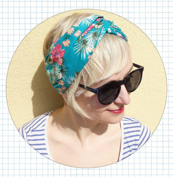 fascia per capelli, turbante in cotone, fascia in cotone, fascia da donna, fascia estiva, fascia azzurra a fiori di lorettascarves su Etsy