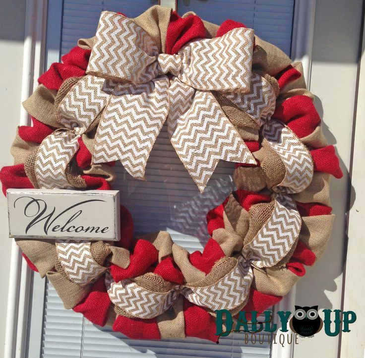 Burlap Wreath, Valentine Wreath, Natural and Red- White Chevron Burlap Wreaths, Wreath for All Year, Welcome Wreath, Red Wreath by DallyUpBoutique on Etsy https://www.etsy.com/listing/198169558/burlap-wreath-valentine-wreath-natural