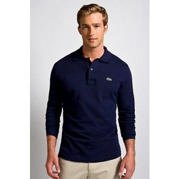 Men Polo Shirt Long Sleeve, navy blue
