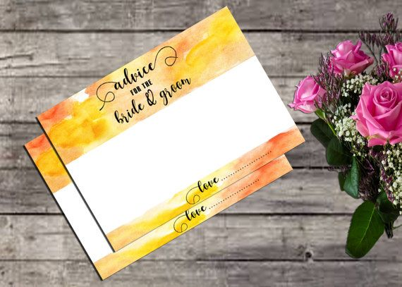 Watercolor Advice Card for Bride and Groom I by YounghopesDigital