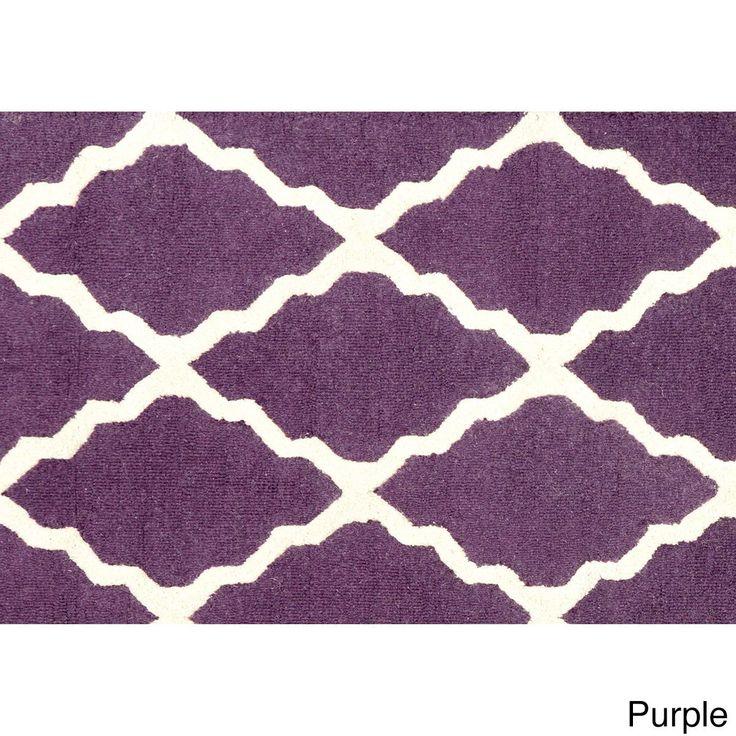 nuLOOM Hand-hooked Alexa Moroccan Trellis Wool Door Mat Rug (2' x 3') (Purple) (Oriental)