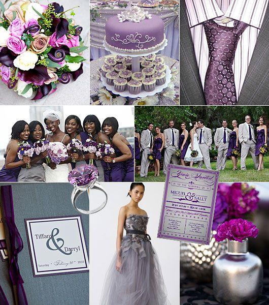 Grå-lila färgtema på bröllop / Color theme: grey, purple