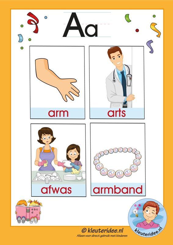 Pakket over de letter a blad 3a, woorden met een a, kleuteridee, free printable.