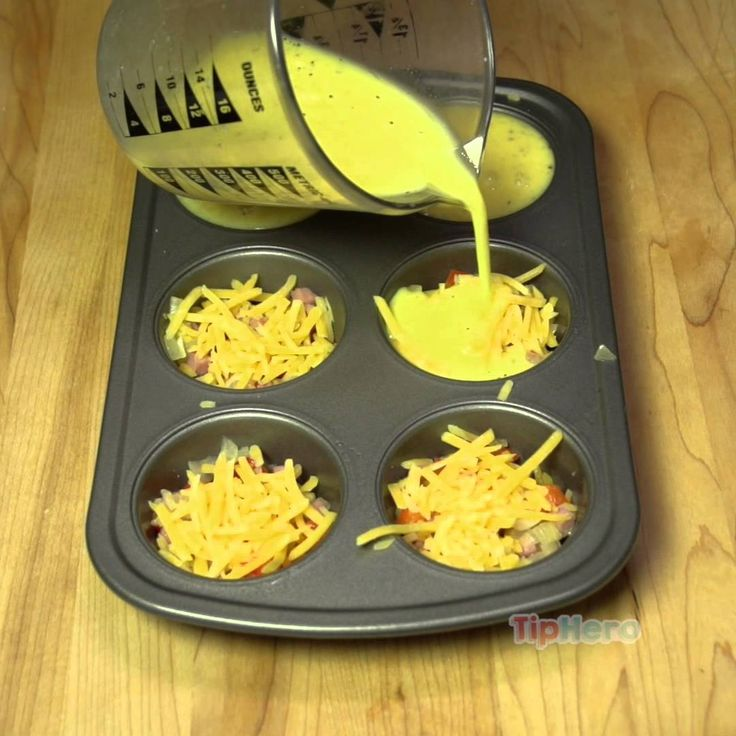 Amazing Omelet Muffins Ingredients:  – 4 Eggs – 1/4 Cup of Milk – 1/2 teaspoon of Baking Powder – 1/2 teaspoon of Oil – Salt & Pepper – Grated Cheese (Your choice, I used Cheddar) – Favorite Omelet fillings (Your choice, I used onions, bell peppers and diced ham)
