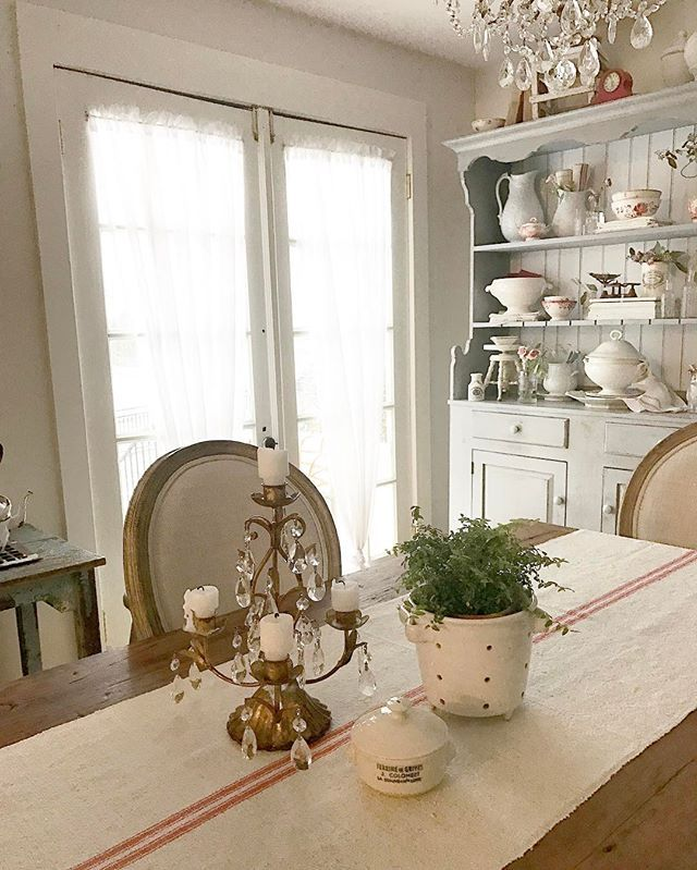 Yay, it's snowing. Not sure we're to get that much, but it sure is pretty coming down. Nothing seems to close here in the Philadelphia area when it snows like it did in Northern Virginia, where the mere mention of snow caused everything to close or be canceled. #itssnowing #frenchstylecottage #cottageliving #diningroom #vintagefrench
