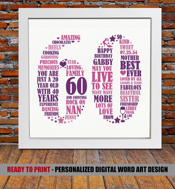 Personalized 60th Birthday Gift  60th birthday 60th by BlingPrints