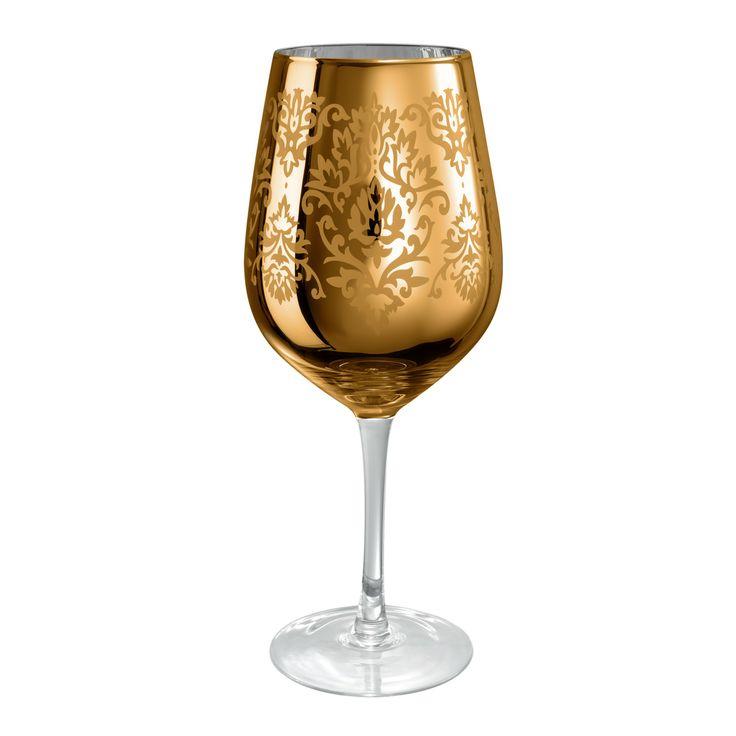 Artland Brocade Gold Goblet Wine Glass - 27 oz | Everything Kitchens