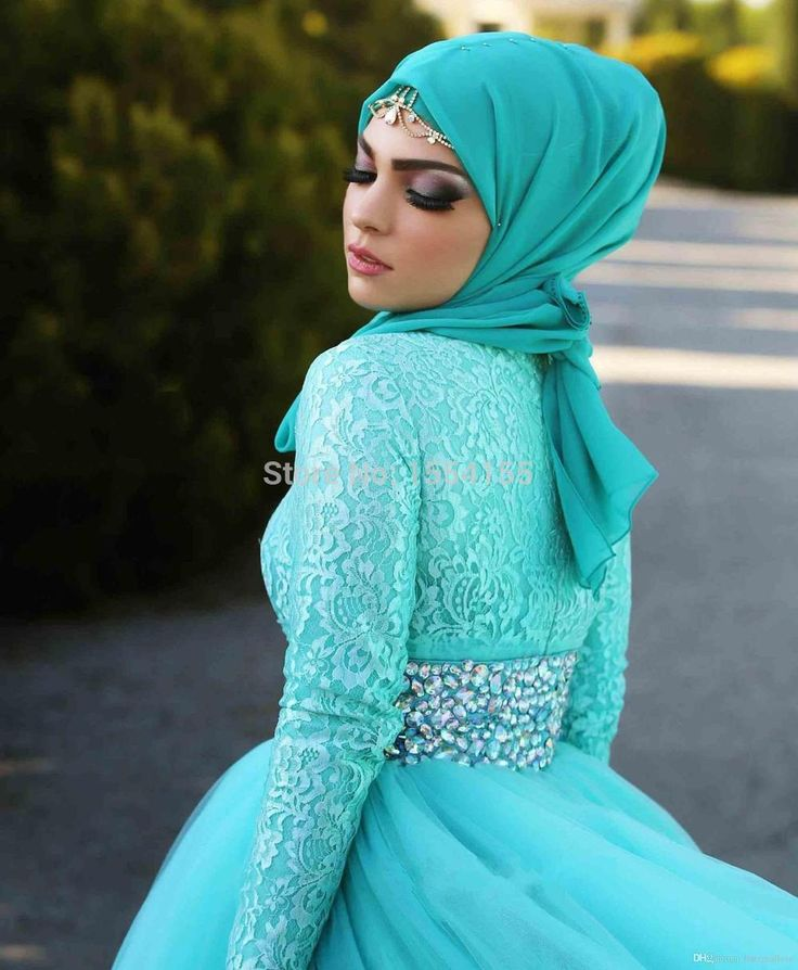 Charming Long Sleeve High Neckline Muslim Wedding Dresses 2015 New Style Blue Tulle A-line Lace Bridal Gowns With Crystal Vestido De Noiva (3).jpg