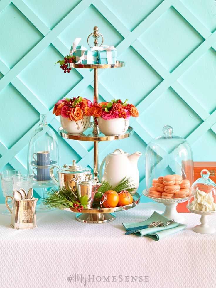 Your silver tiered cake stand and glass cloches will get a serious workout this season. Not only great for holiday treats, but also for festive displays on your tabletop or mantel. How gorgeous is Tiffany blue with fresh citrus hues?