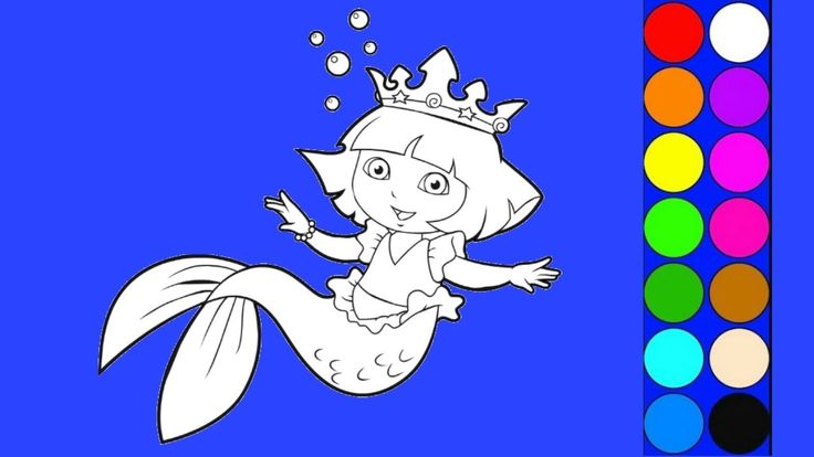 Dora The Explorer Rainbow Mermaid Coloring Pages - Learn Colors