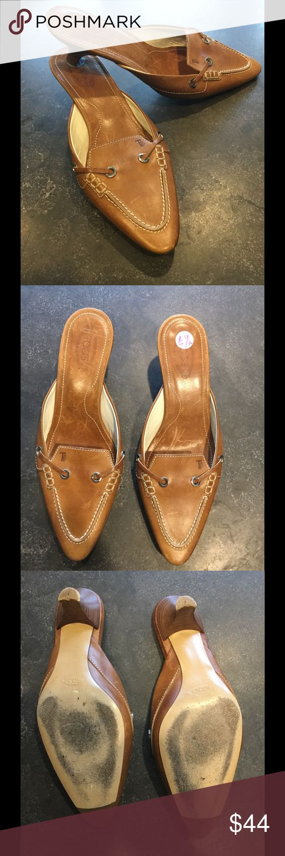 "Tod's Italian leather mule clogs low heels slip on Good used condition w/ some scratches to leather and black mark to one heel. Kitten Heel measures 1"". Beautiful camel brown color. White topstitch detail. Pointed toe. Tod's Shoes Mules & Clogs"