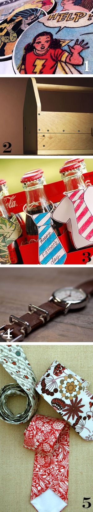 awesome fathers dad day gifts, coasters, tool box, coke, cola, watch band, ties, DIY how to instructions for each one.