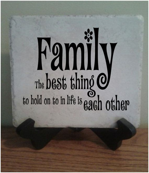 Ceramic Tile with vinyl lettering 6x6 Family by StoneEffectsMD, $12.50