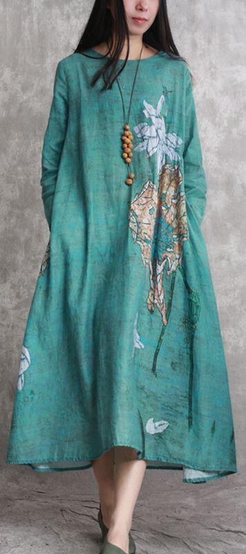 2018 green prints linen dresses plus size clothing asymmetric caftans casual big hem kaftans1\