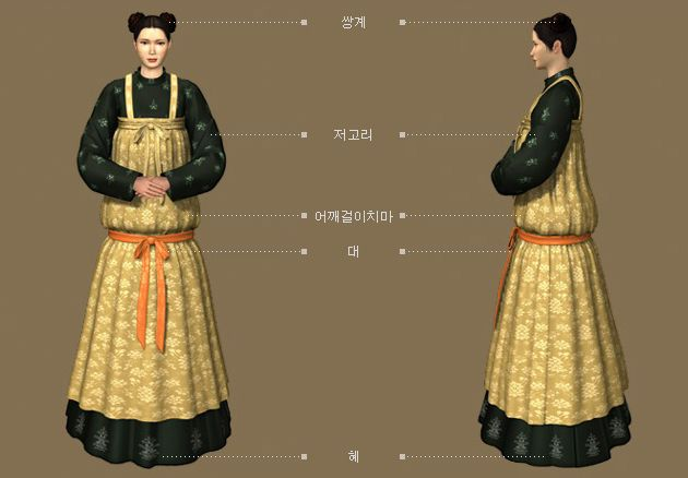 Goryeo Dynasty(AD918-1392) Korean traditional clothes #hanbok 신분이 낮은 궁정 시녀 - 문화콘텐츠닷컴