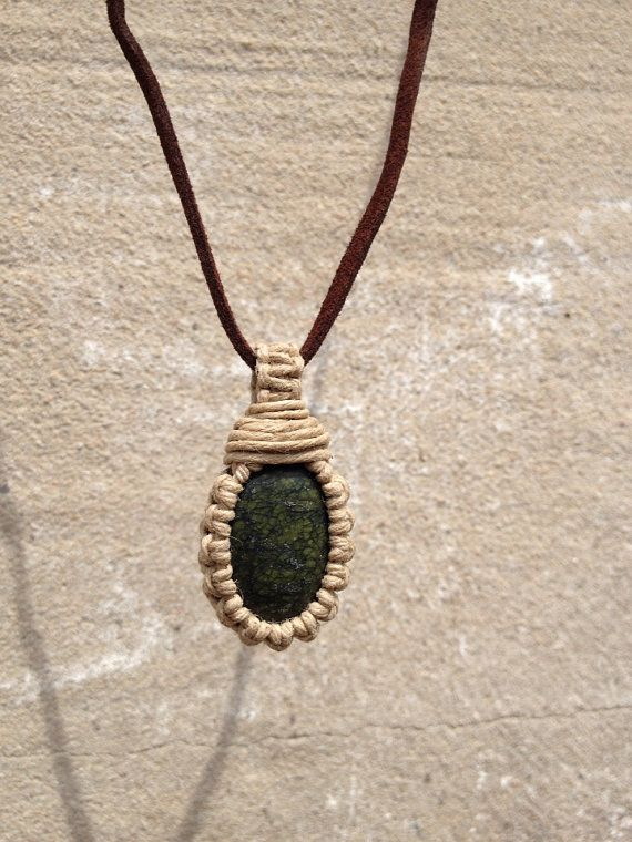 Macrame Hemp Wrapped Russian Serpentine Stone by CreatePeaceHemp