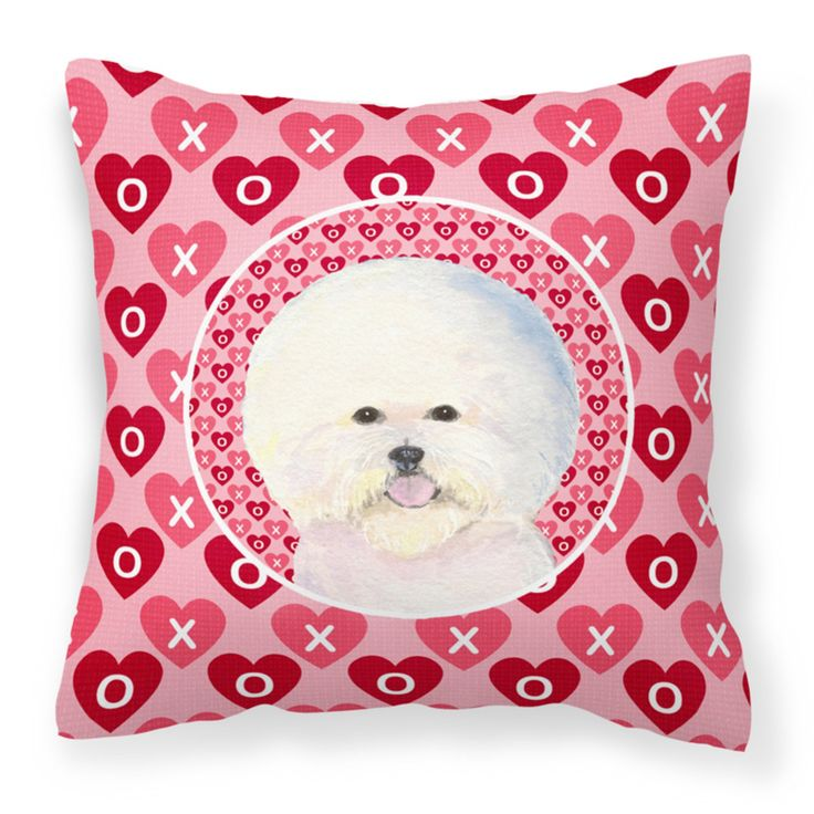 Caroline's Treasures Bichon Frise Hearts Love and Valentines Day Decorative Outdoor Pillow - SS4526PW1414