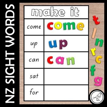Activity mats for students working on their sight words from the Magenta to Orange level of the NZ reading colour wheel. Print and laminate the mats. Students make the words using alphabet letters (eg magnetic letters, scrabble tiles, letters written on milk bottle lids, letters written on pieces of card ...)