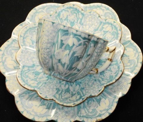 Shelley Pale Blue Wileman Snowdrop Tea Cup and Saucer Trio