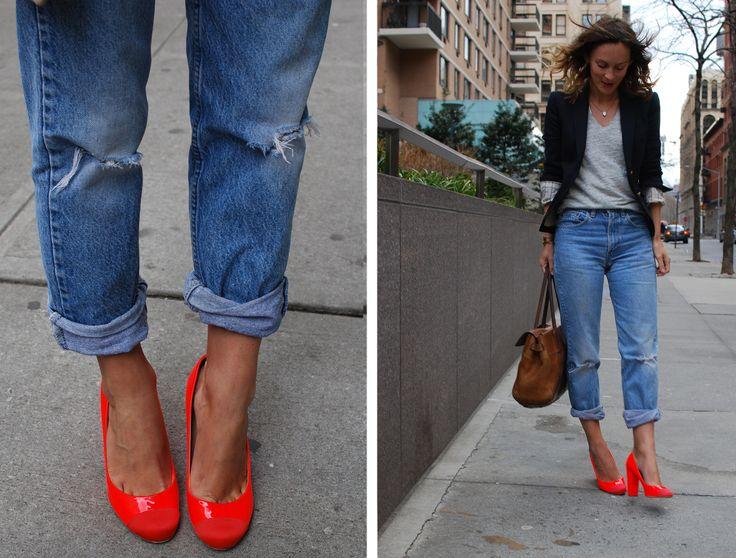 boyfriend's jeans + grey t-shirt + navy blazer + neon shoes + bag of my dream
