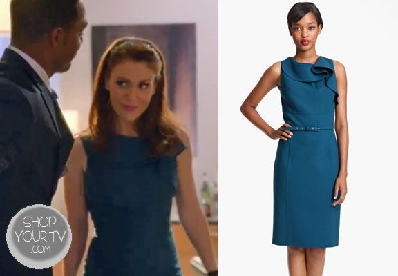 Savi Davis (Alyssa Milano) wears this blue knit dress with ruffled fabric at the neckline in this week's episode of Mistresses.