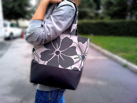Brown Tote Bag  Leather Bag  Handbag  Canvas bag by PeraMantica