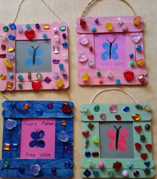 Easy preschool craft for Mother's Day. Large popcicle sticks, paint, jewels, beads, ribbon, foam sheets,hot glue and little thumbprints. From the Firefly class.