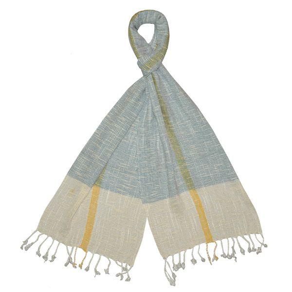 Handmade Linen Scarf - Blue