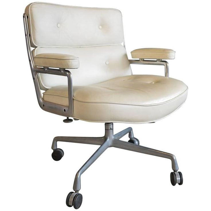 Pair of Charles Eames Time Life White Leather Chairs For Sale at 1stdibs