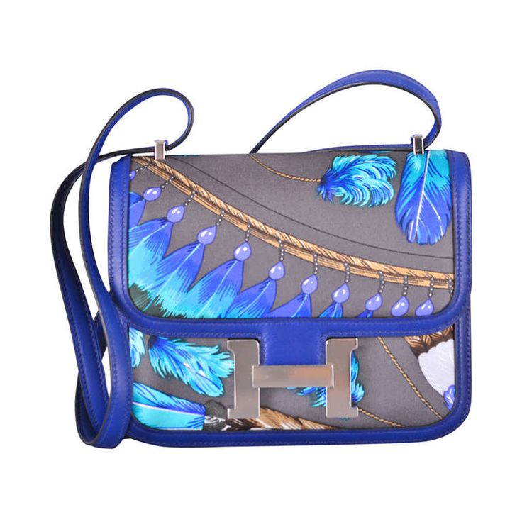 LIMITED Hermes 2014 CONSTANCE III MINI SOIE BRAZIL GRAPHITE & BLEU SAPPHIRE | From a collection of rare vintage handbags and purses at https://www.1stdibs.com/fashion/accessories/handbags-purses/