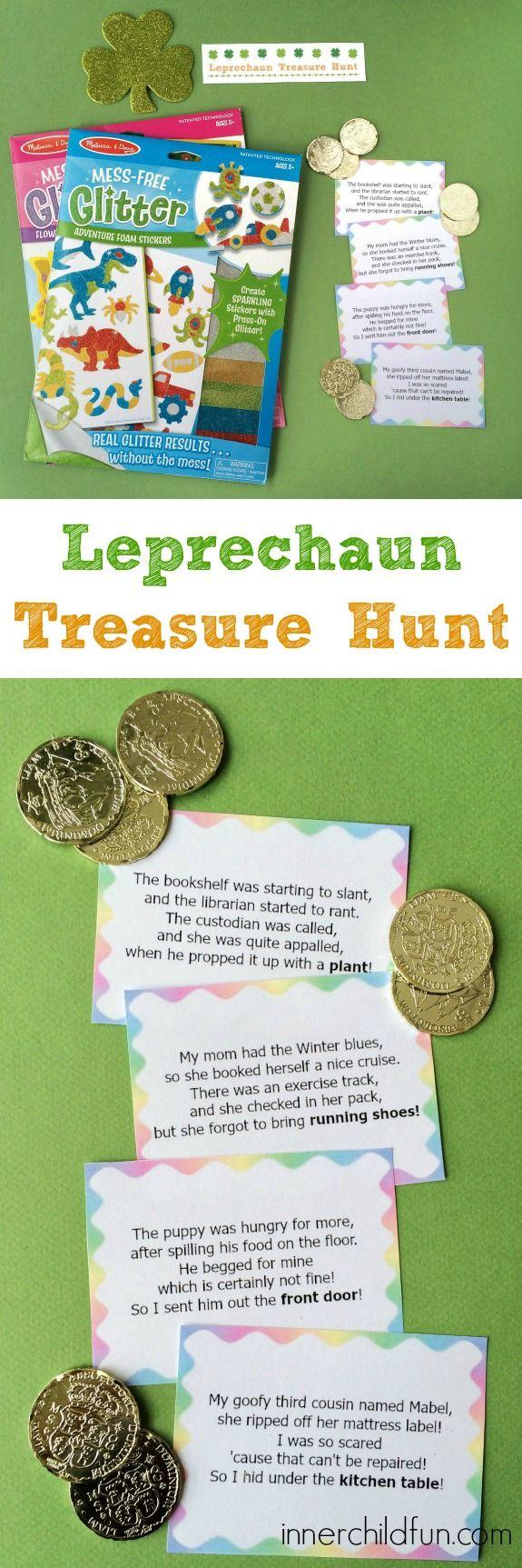 Leprechaun Treasure Hunt Clues -- free printable! #sponsored